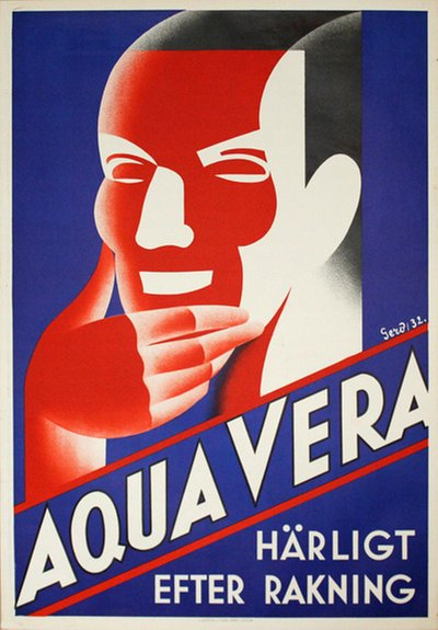 Aqua Vera - After Shave poster designed by Gerö