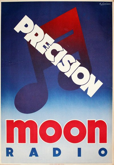 Moon Radio poster designed by E. Carlson