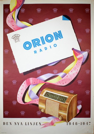 Orion Radio 1946 original poster designed by Herssons