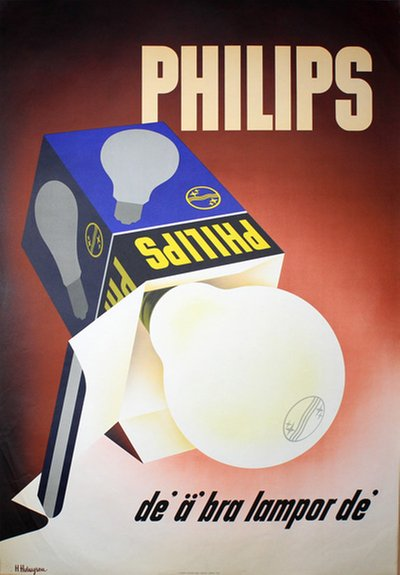 Philips Light Bulb original poster designed by Holmgren, Helge (1905-1978)