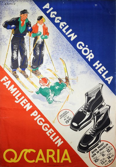 Oscaria Shoes - Ski Boots Piggelin original poster designed by Rohman, Eric (1891-1949)