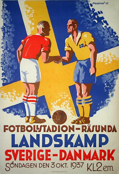Sweden - Denmark Soccer Football Poster poster designed by Myhrman, Evert (1907-1983)