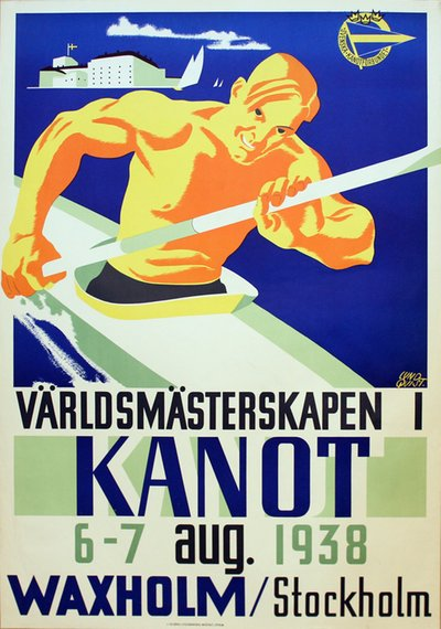 ICF Canoeing World Championships 1938 - Sweden Vaxholm original poster designed by Lundqvist, Birger (1910–1952)