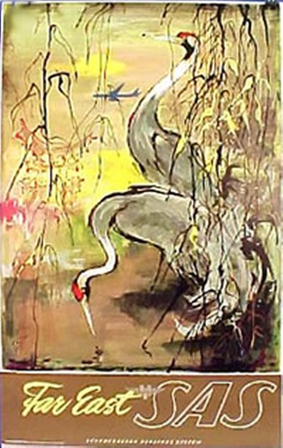 SAS - Far East - Cranes original poster designed by Nielsen, Otto (1916-2000)