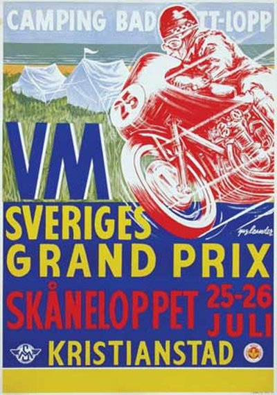 The Swedish motorcycle Grand Prix 1959 Skaneloppet Kristianstad original poster designed by Leander, (Gus) Gustav Egron (1909-1980)