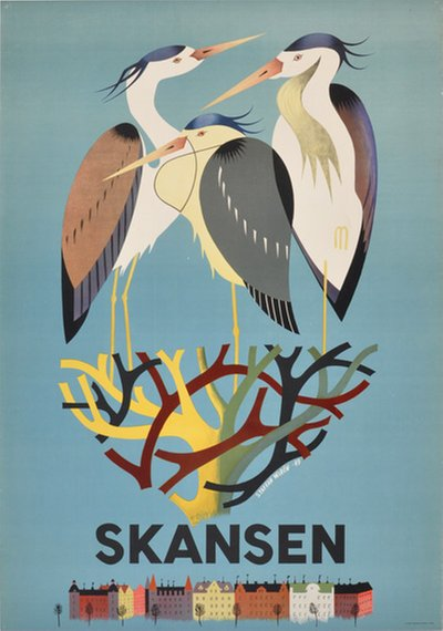 Skansen, Stockholm, Sweden original poster designed by Staffan Wirén