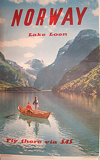 Norway - 1958 - Lake Loen original poster designed by John Tedford