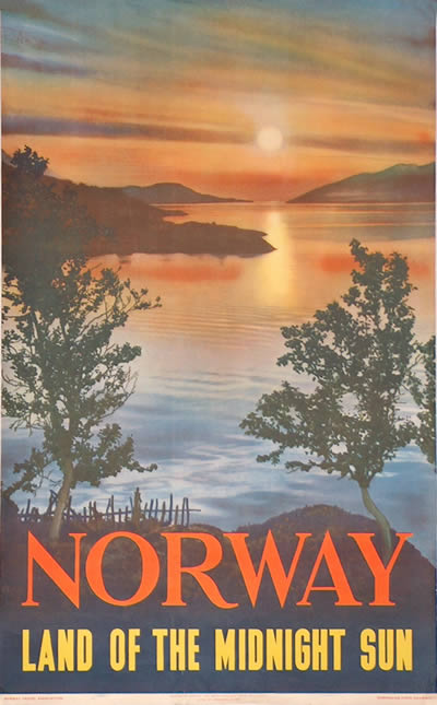 Original Vintage Poster Norway Land Of The Midnight Sun