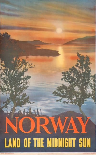 Norway - Land of the Midnight Sun original poster designed by Photo by Algård