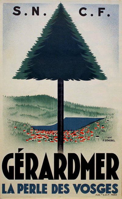 Gérardmer, Vosges - French travel poster  original poster designed by P. Zenobel