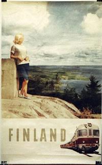 original vintage poster  finland travel  train for sale at