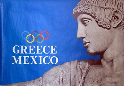 Greece - Mexico - Olympic poster original poster designed by Composition: N. Kostopoulos - Photo: N. Kontos