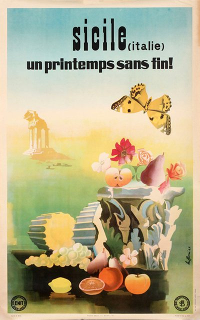 Sicily, everlasting spring original poster designed by Buffoni