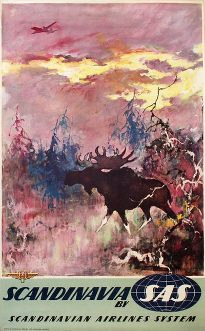 by SAS - Scaninavian Airlines - Moose Elg original poster designed by Nielsen, Otto (1916-2000)