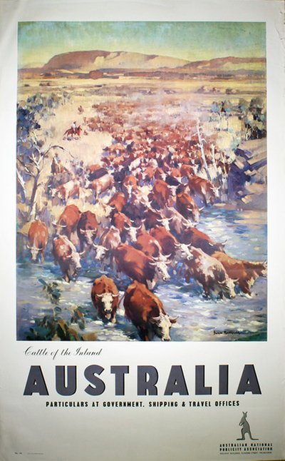 Australia. Alice Springs. Cattle of the Inland original poster designed by Northfield, James (1888-1973)