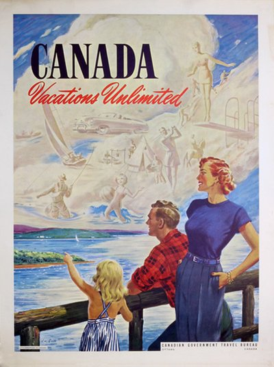 Canada Vacations Unlimited  original poster designed by A. W. Goss