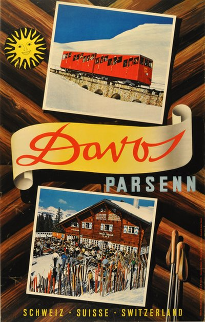 Davos Parsenn Switzerland poster designed by Photo: Robert Capa and Werner Cohnitz