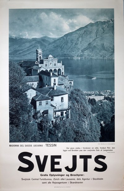 Switzerland - Madonna del Sasso Locarno Tessin original poster designed by Photo: Wehrli S. A. Kilchberg