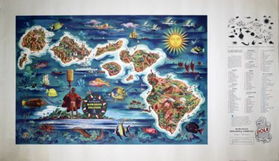 Dole Map Of The Hawaiian Islands original poster designed by Feher, Joseph (1908-1987)