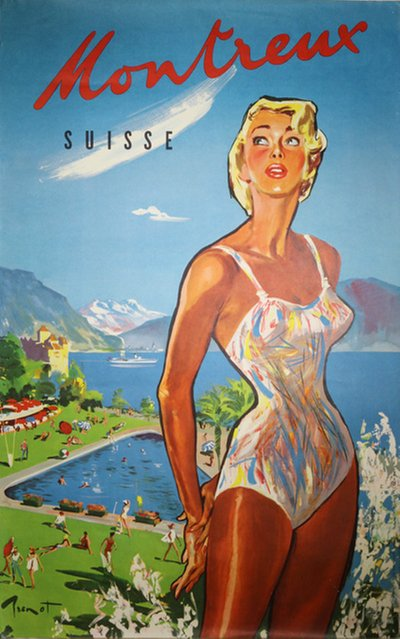 Montreux - Suisse original poster designed by Brenot, Pierre Laurent (1913-1998)