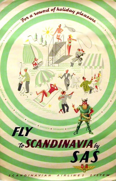 SAS - fly to Scandinavia original poster designed by Varney