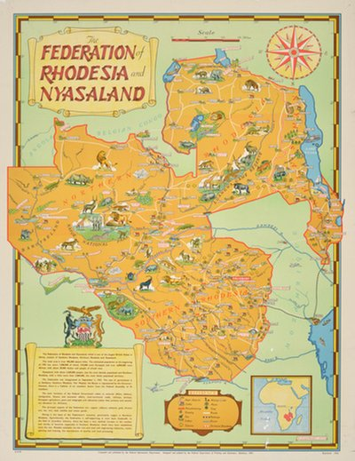 The Federation of Rhodesia and Nyasaland - Africa poster designed by R. Beaumont