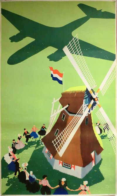 Holland - Windmill original poster designed by Erkelens, Paul C. (1912-?)