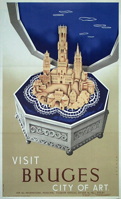 Bruges Belgium original poster designed by Setola