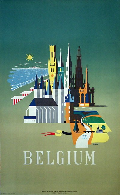 Belgium travel poster poster designed by conrad