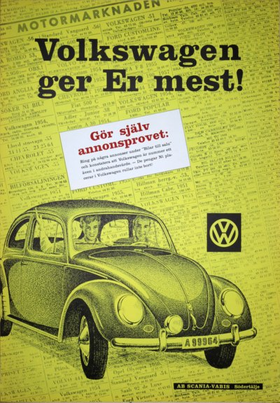 VW Volkswagen Beetle 1950s poster original poster designed by AB Ervaco