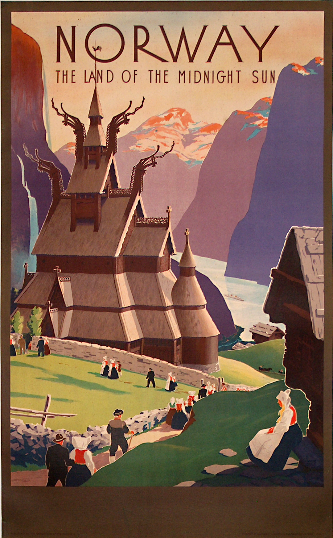 original vintage poster norway the land of the midnight