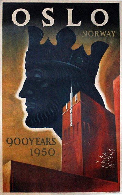 Oslo - Norway - 900 years 1950 original poster designed by Michaelsen, M. Ottar (1915-)
