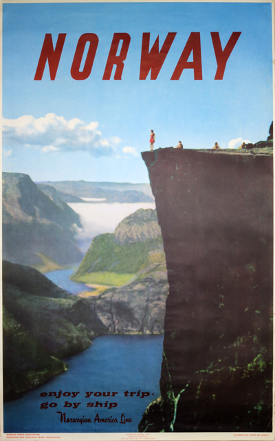 Original Vintage Poster Norway The Pulpit Rock