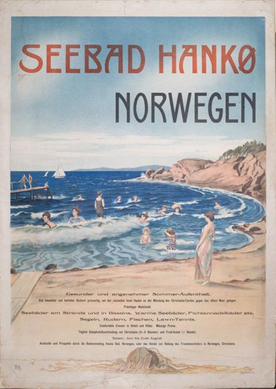 Hankø Bad - Norway original poster designed by Holmboe,Thorolf (1866-1935)