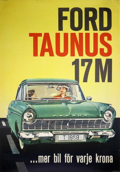 Original vintage poster: Ford Taunus 17M for sale at posterteam.com