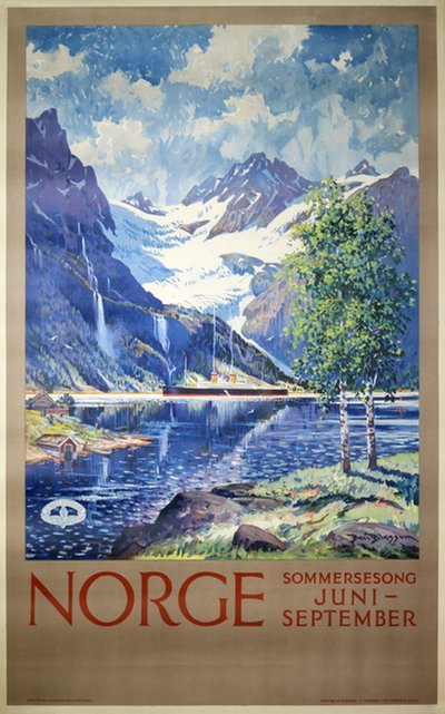 Norge - Sommersesong poster designed by Blessum, Benjamin (Ben)  (1877-1954)