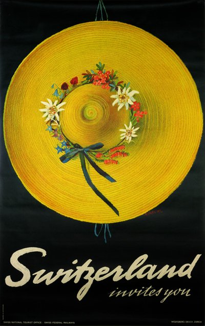 Switzerland Invites you original poster designed by Carigiet, Alois (1902-1985)