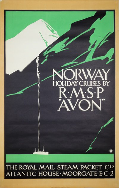 Norway Holiday Cruises RMSP AVON original poster designed by Taylor, Fred (1875-1963)