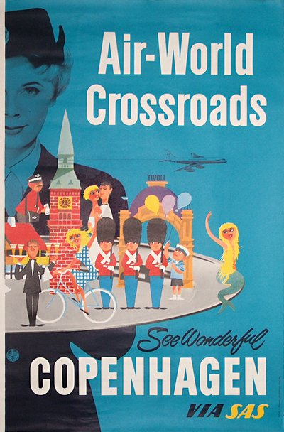 Original vintage poster: SAS - Wonderful Copenhagen