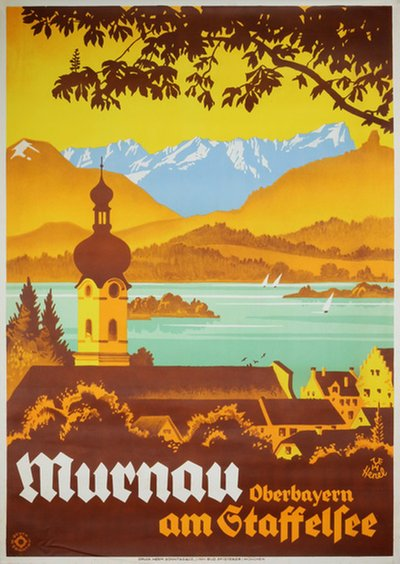 Germany - Murnau Oberbayern am Staffelsee original poster designed by Henel, Edwin Hermann (1883-1953)