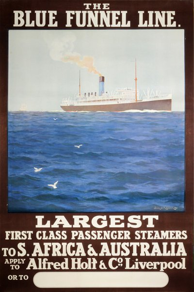 The Blue Funnel Line poster designed by Brown, Samuel John Milton (1873-1965)