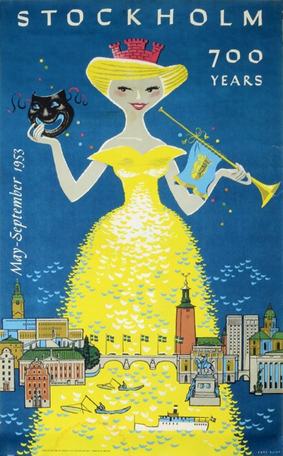 Stockholm 700 years poster designed by Blixt, Curt (1912-2010)