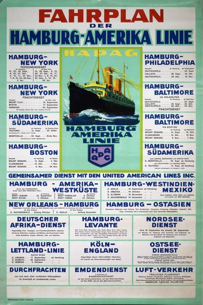 hot new products official images official store Original vintage poster: Fahrplan Hamburg-Amerika Linie ...