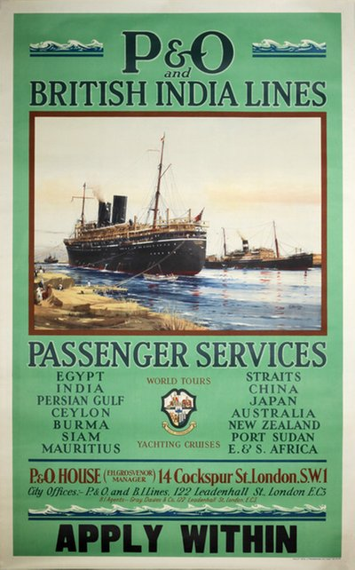 P&O British India Lines Passenger Service original poster designed by Spurling, Jack (1870-1933)