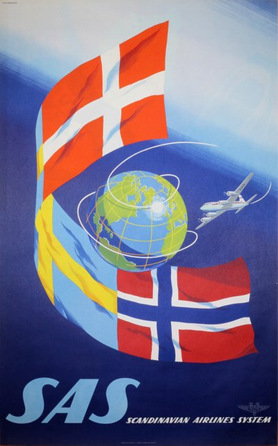 SAS - Scandinavian Airlines System poster designed by Olle Svensson