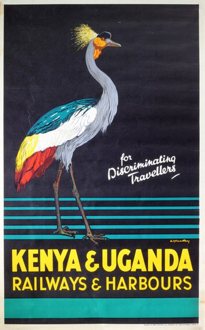 Kenya and Uganda Railways and Harbours poster designed by Ed Keeley