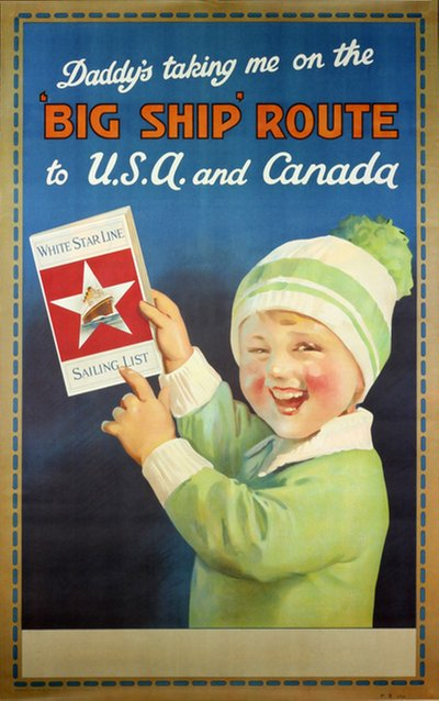 White Star Line to USA and Canada original poster