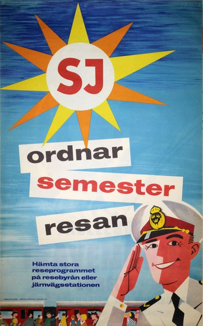SJ Sweden original poster designed by Heffer, Erik (1909-1995)