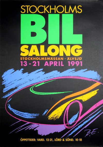 Stockholms BIL Salong original poster designed by B. E.