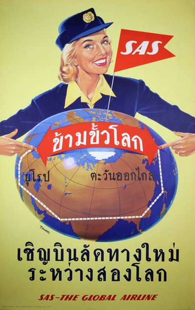 SAS - Over the Pole - Thai - Siam poster designed by Mandel, Tomas